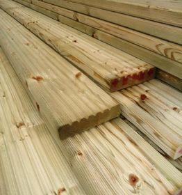 32 x 125mm Redwood Decking Boards Green